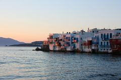 Mykonos en la puesta del sol Fotografía de archivo libre de regalías