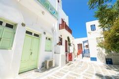 Mykonos gata, grekiska öar. Grekland Fotografering för Bildbyråer