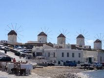 Mykonos. Greece holiday travel windmills Royalty Free Stock Image