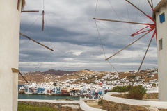 Mykonos in Greece Through Its Famous Windmills Royalty Free Stock Photos