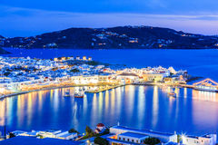 Mykonos, Greece. Mykonos port with boats at twilight, Cyclades islands, Greece Stock Photos