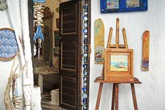 Mykonos, Greece, September 7, 2018, interesting corner of a souvenir shop in Chora. Mykonos, Greece, September 7, 2018, interesting corner of a nice souvenir royalty free stock photo