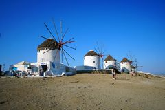 Mykonos, Greece, September 08 2018, Panoramic view of the windmills of the island of Mykonos royalty free stock images