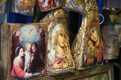 Mykonos, Greece, 11 September 2018, Sacred art with beautiful icons in the Cyclades. Islands royalty free stock photography
