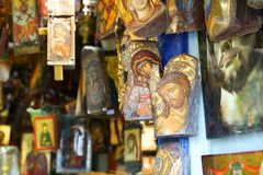 Mykonos, Greece, 11 September 2018, Sacred art with beautiful icons in the Cyclades. Islands royalty free stock image