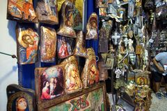 Mykonos, Greece, September 11th 2018, Sacred art shop in the historic center of Chora with beautiful icons. On wood stock images