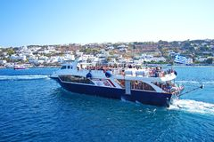 Mykonos, Greece, 11 September 2018, Tourists at the old port embark on special ferries to the island of Delos. Mykonos, Greece, 11 September 2018, Tourists at stock photos