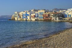 Free Mykonos Greece View Of The Bay Of Mykonos Center, With Its Typical White Houses With Blue Windows, In Ancient Greek Style Stock Photo - 119659570