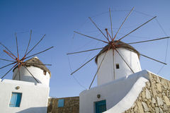 Mykonos greece, windmills Royaltyfri Bild