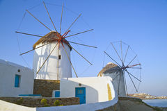 Mykonos greece, windmills Royaltyfri Foto
