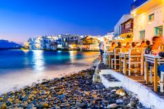 Mykonos, Greek Islands - Greece. Mykonos, Greece. Little Venice waterfront houses, considered one of the most romantic places on the Cyclades Islands royalty free stock images