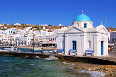 Mykonos harbor Stock Photo