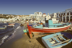 Mykonos harbor, Greece Stock Photo