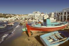 Mykonos harbor, Greece Stock Photo