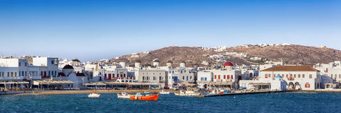 Mykonos Harbor Panorama Royalty Free Stock Image