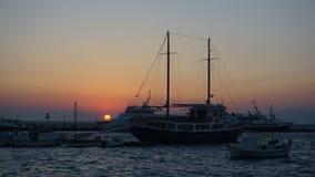 Mykonos Harbour, Mykonos Island, Greece. Mykonos is an island in the Cyclades group in the Aegean Sea stock image