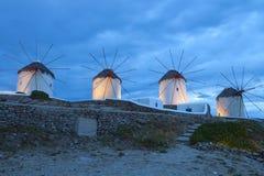 Mykonos ö i Grekland vid natt Arkivfoton