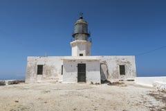 Mykonos Insel, Griechenland Leuchtturm Armenistis Lizenzfreie Stockbilder