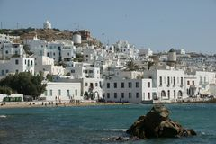 Mykonos Island. Beachfront on the greek island of mykonos Stock Photography