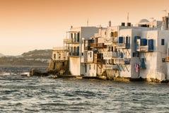 Mykonos island Cyclades Greece. Little Venice on Mykonos island Cyclades Greece Stock Photo