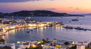 Mykonos island at evening in Greece, Cyclades Royalty Free Stock Photos