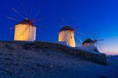 Mykonos island famous windmills Royalty Free Stock Image