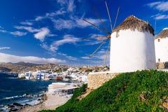 Mykonos island famous windmills Stock Images
