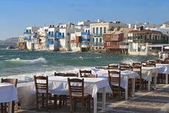 Mykonos island in Greece. Area of the small Venice Stock Photo