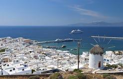 Mykonos island in Greece. Island of Mykonos at the Cyclades of the Aegean sea in Greece Royalty Free Stock Photos