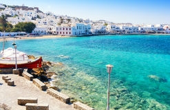 Mykonos island in Greece, Cyclades. Beautiful view on mykonos town with blue lagoon Royalty Free Stock Image