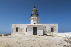 Mykonos island, Greece. Lighthouse Armenistis. The lighthouse, located in Cape Armenistis, was manufactured in 1891 and overlooks the island of Tinos royalty free stock images