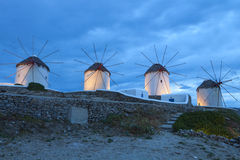 Mykonos island in Greece by night. The famous Windmills of Mykonos island in Greece by night Stock Photos