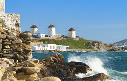Mykonos island in Greece. The old windmills of Mykonos island in Greece Stock Photos