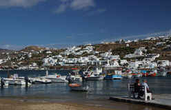 Mykonos island, Greece. View of harbor in Mykonos with clear water and boats stock image