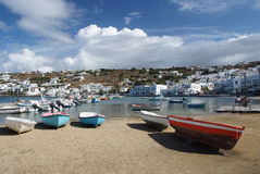 Mykonos island, Greece. View of harbor in Mykonos with clear water and boats royalty free stock photography