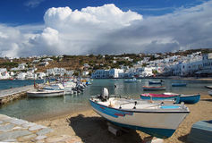 Mykonos island, Greece. View of harbor in Mykonos with clear water and boats stock photo