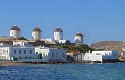 Mykonos island in Greece. The windmills of Mykonos island in Greece Royalty Free Stock Image