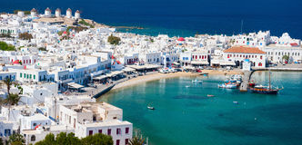 Mykonos island. Panorama of traditional greek village with white houses on Mykonos Island, Greece, Europe Stock Photo
