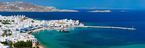 Mykonos island. Panorama of traditional greek village with white houses on Mykonos Island, Greece, Europe Stock Image