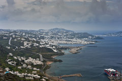 Mykonos island view at spring rainy day Royalty Free Stock Images