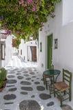 Mykonos narrow street Stock Photos