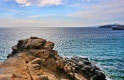 Mykonos och Aegean hav Arkivbild