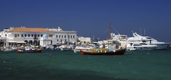 Mykonos old port Stock Photos