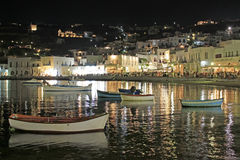 Mykonos Old Port At Night Stock Image