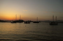 Mykonos Old Port under the beautiful sunset sky, Mykonos Island Stock Photography