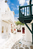 Mykonos old town street. Authentic whitewashed cycladic street in beautiful Mykonos island, Cyclades, Greece Stock Photo