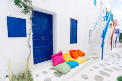 Mykonos old town street Royalty Free Stock Photo