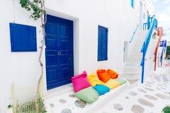 Mykonos old town street. Authentic whitewashed cycladic street in beautiful Mykonos island, Cyclades, Greece Royalty Free Stock Photo