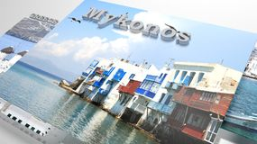 Mykonos places to visit in slideshow like set photos. And 3d text Stock Photography
