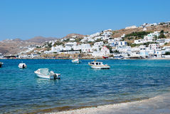 Mykonos port Stock Image